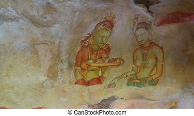 frescoes at ancient rock fortress in Sri Lanka