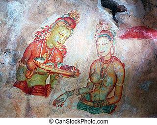 frescoes, sri lanka, sigiriya