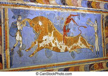 frescos, archäologisch, museum, heraklion
