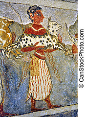 Frescos at the Archaeological Museum of Heraklion -...