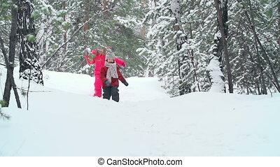Fresh Air - Two little friends running through winter woods...