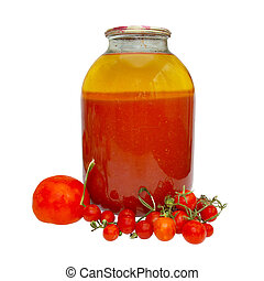 Fresh and bottled tomatoes in jar isolated on white.