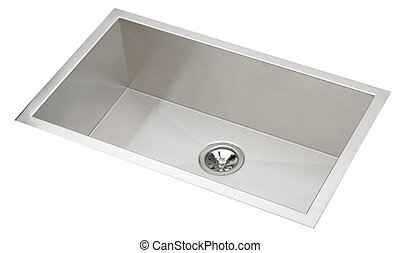 Fresh and clean metal sink and silver water filter kitchen sink