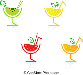Fresh and colorful fruity drinks collection isolated on white