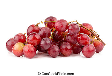 fresh and delicious red grapes isolated on white background