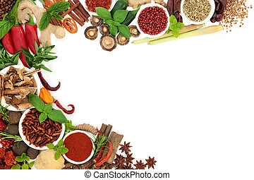 Fresh and Dried Herb and Spice Background Border