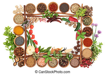 Fresh and Dried Herbs and Spice Border