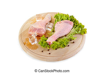 Fresh and frozen chicken legs with green salad