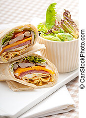 club sandwich pita bread roll