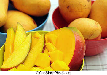 mango  - fresh and juicy slice of mango in bowl
