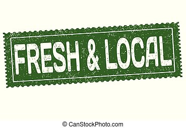 Fresh and local grunge rubber stamp