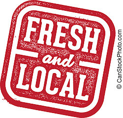 Fresh and Local Stamp - Rubber stamp style imprint. Fresh...