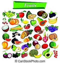 Fresh and nutritious fruit set including apple, orange, grapes, coconut, berry