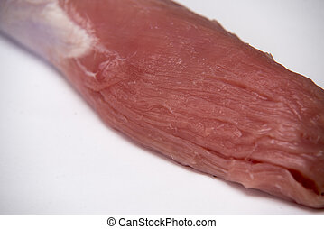 Fresh and raw meat. Sirloin on white background