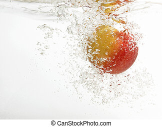 Fresh and tasty an apple in water.