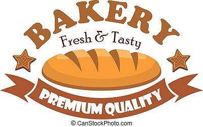 Fresh and tasty bread bagel. Bakery emblem