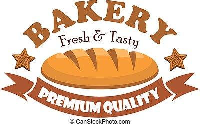 Fresh and tasty bread bagel. Bakery emblem