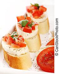 bruschetta over white background - Fresh and tasty ...