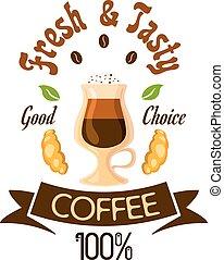 Fresh and tasty coffee fast food label