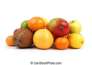 Fresh and tasty fruits isolated on white.