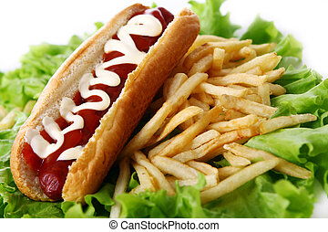 Fresh and tasty hot dog with fried potatoes on the salad...