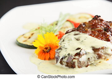 peaces of meat with garnish
