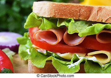 tasty sandwich - Fresh and tasty sandwich on wooden cutting ...