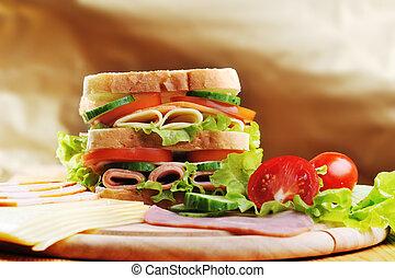 tasty sandwich - Fresh and tasty sandwich on wooden table