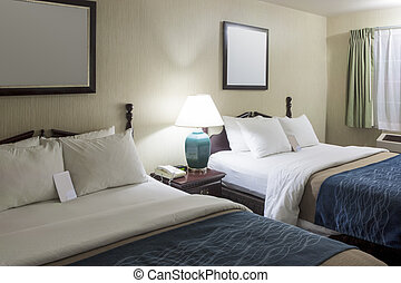 Fresh and Tidy Ready to Use Modern Hotel Appartment with Two King-Size Beds. Horizontal Image Composition