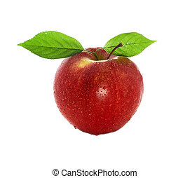 fresh and wet red apple with green leaves with water isolated on a white background