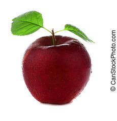 fresh and wet red pink apple with green leaves with water isolated on a white background