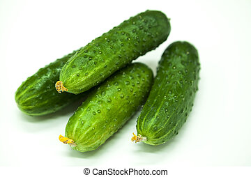 Fresh appetizing tasty cucumbers on a white background.