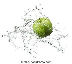 fresh apple - fresh green apple with water splash on white...