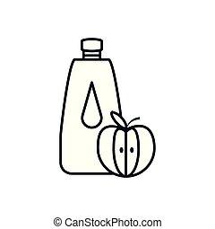 fresh apple fruit with bottle