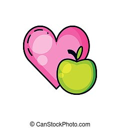fresh apple fruit with heart
