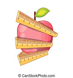 fresh apple fruit with measuring tape