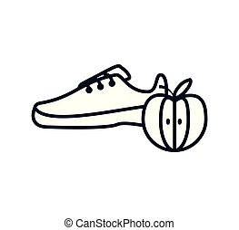 fresh apple fruit with sport shoe