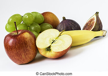 fresh apple, grapes, banana, fig, nectarine - fresh apple,...