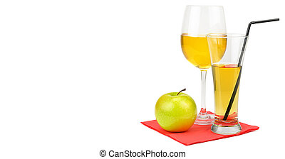Fresh apple juice with fruits, isolated on white background. Free space for text