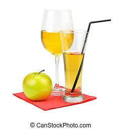 Fresh apple juice with fruits, isolated on white background.