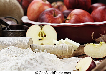 Fresh Apple Pie Ingredients with Rolling Pin