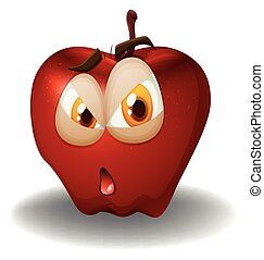 Fresh apple with face