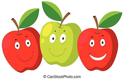 Fresh apple with happy faces