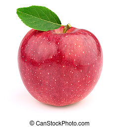 Fresh apple with leaves