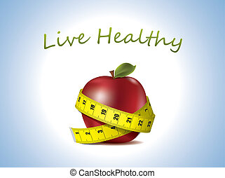Fresh Apple with measuring tape - Live Healthy - fresh Apple...