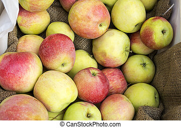Fresh apples in a box