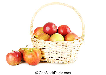 Fresh apples in basket isolated on a white