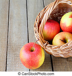 fresh apples in the basket