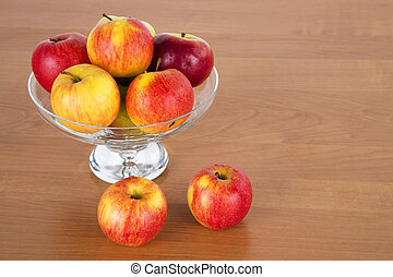Fresh apples in the glass