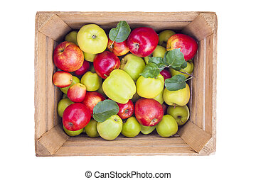 fresh apples in wooden box